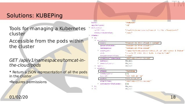 TM 1801/02/20 Solutions: KUBEPingSolutions: KUBEPing Tools for managing a Kubernetes cluster Accessible from the pods with...
