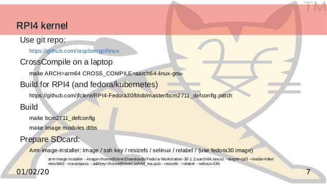 TM 701/02/20 RPI4 kernelRPI4 kernelRPI4 kernelRPI4 kernel Use git repo: https://github.com/raspberrypi/linux CrossCompile ...