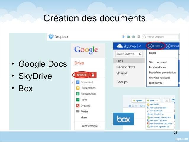 Création des documents • Google Docs • SkyDrive • Box 26