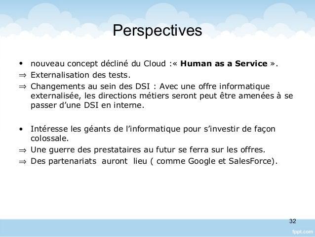 Perspectives • nouveau concept décliné du Cloud :« Human as a Service ». ⇒ Externalisation des tests. ⇒ Changements au sei...