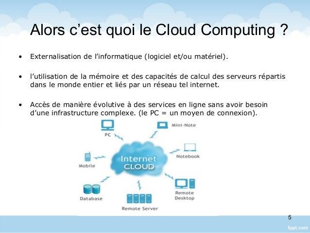 Alors c'est quoi le Cloud Computing ? • Externalisation de l'informatique (logiciel et/ou matériel). • l'utilisation de la...