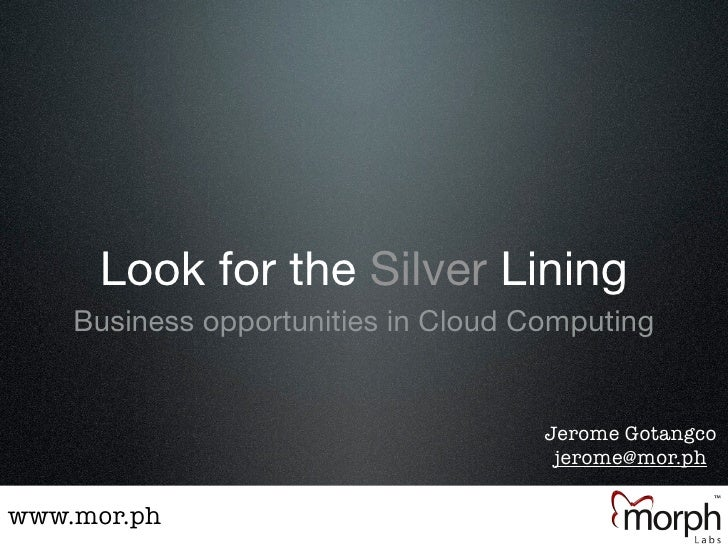 Look for the Silver Lining     Business opportunities in Cloud Computing                                        Jerome Got...