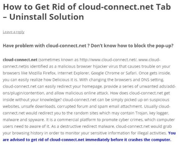 cloud-connect.net Removal - How to Get Rid of
