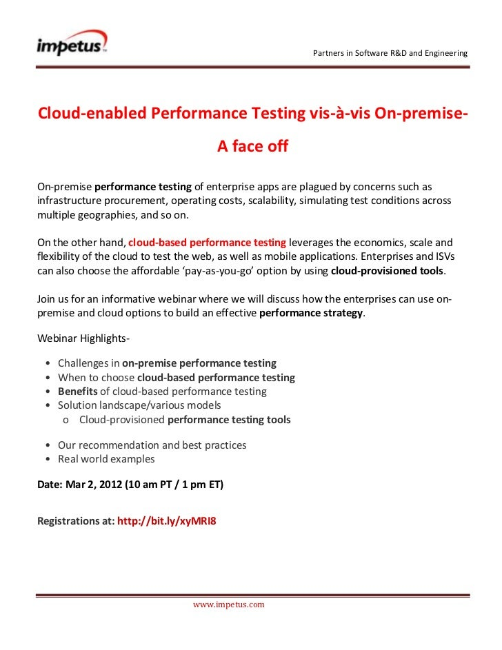 Partners in Software R&D and EngineeringCloud-enabled Performance Testing vis-à-vis On-premise-                           ...