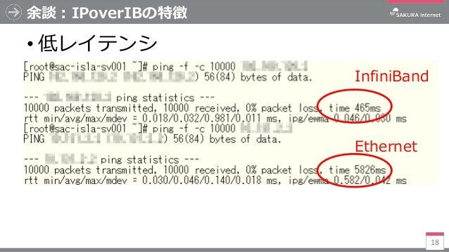 余談:IPoverIBの特徴 • 低レイテンシ 18 InfiniBand Ethernet