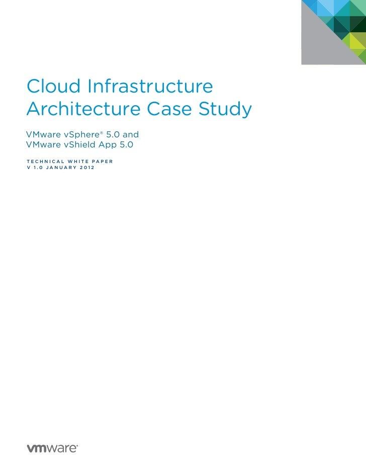 Cloud InfrastructureArchitecture Case StudyVMware vSphere® 5.0 andVMware vShield App 5.0T E C H N I C A L w hite p a p e r...