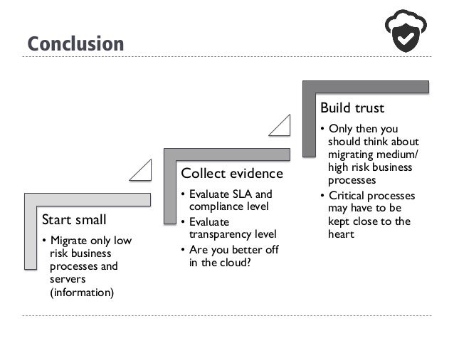 Conclusion Start small • Migrate only low risk business processes and servers (information) Collect evidence • Evaluate ...