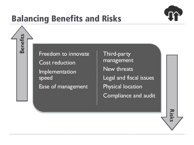 Balancing Benefits and Risks Freedom to innovate Cost reduction Implementation speed Ease of management Third-party manage...