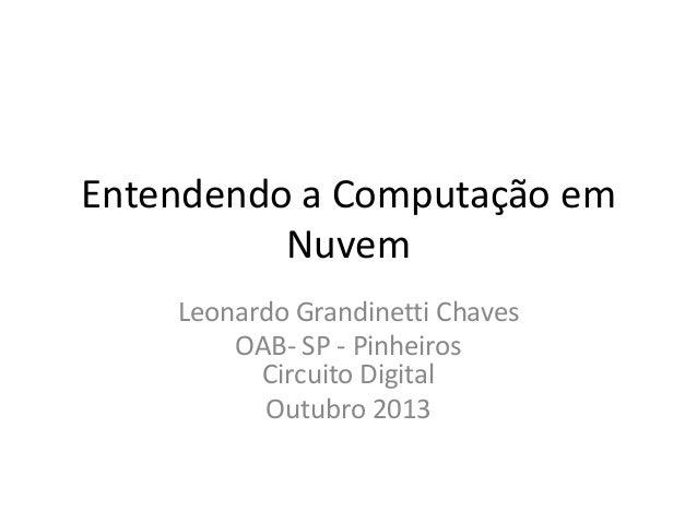 Entendendo a Computação em Nuvem Leonardo Grandinetti Chaves OAB- SP - Pinheiros Circuito Digital Outubro 2013