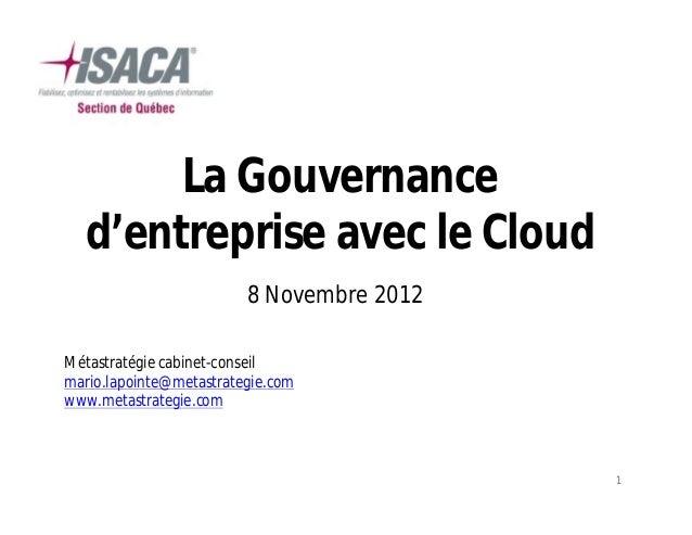 La gouvernance d'entreprise avec le cloud