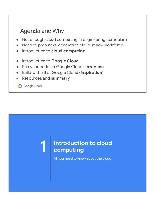 Cloud computing overview & running your code on Google Cloud