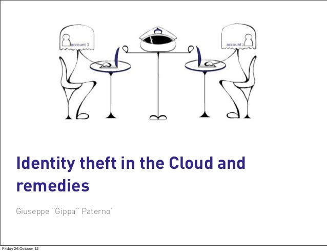 """Identity theft in the Cloud and       remedies       Giuseppe """"Gippa"""" Paterno'Friday 26 October 12"""