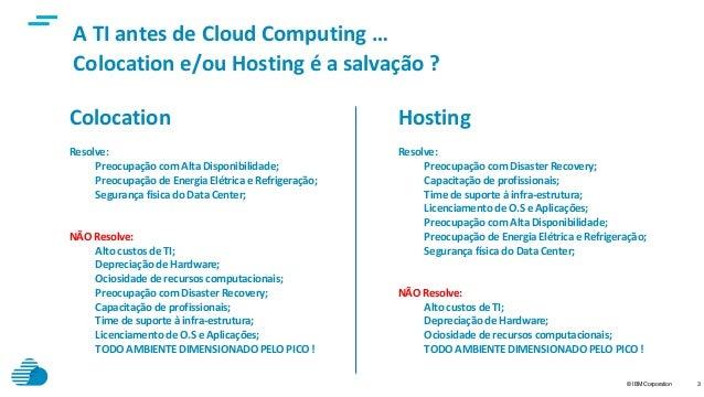 © IBM Corporation 3 Colocation e/ou Hosting é a salvação ? A TI antes de Cloud Computing … Colocation Resolve: Preocupação...