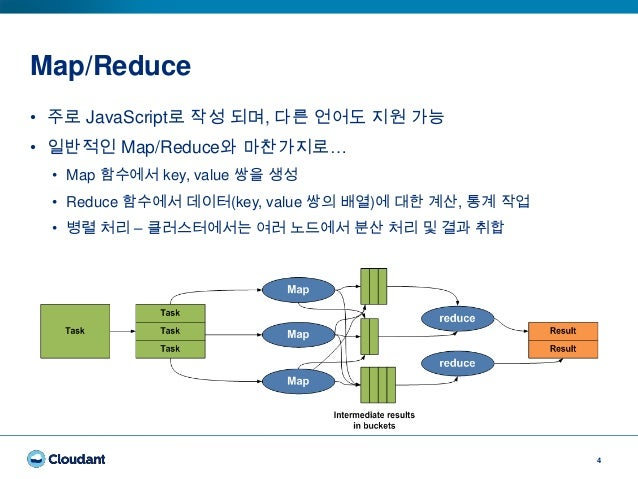 Map/Reduce 4 • 주로 JavaScript로 작성 되며, 다른 언어도 지원 가능 • 일반적인 Map/Reduce와 마찬가지로… • Map 함수에서 key, value 쌍을 생성 • Reduce 함수에서 데이터(...