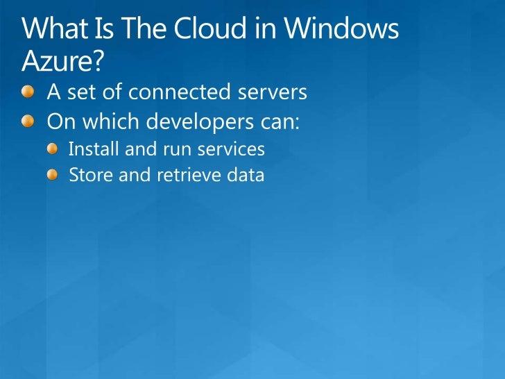 An Overview of the Windows Azure Platform<br />