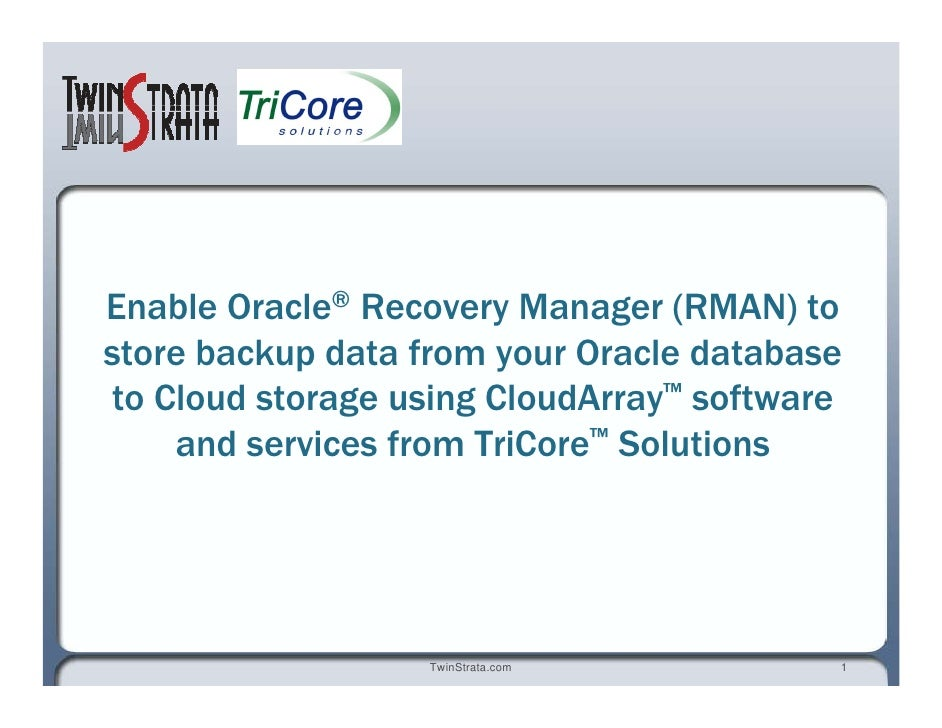 Enable Oracle ®  Recovery Manager (RMAN) to store backup data from your Oracle database to Cloud storage using CloudArray ...