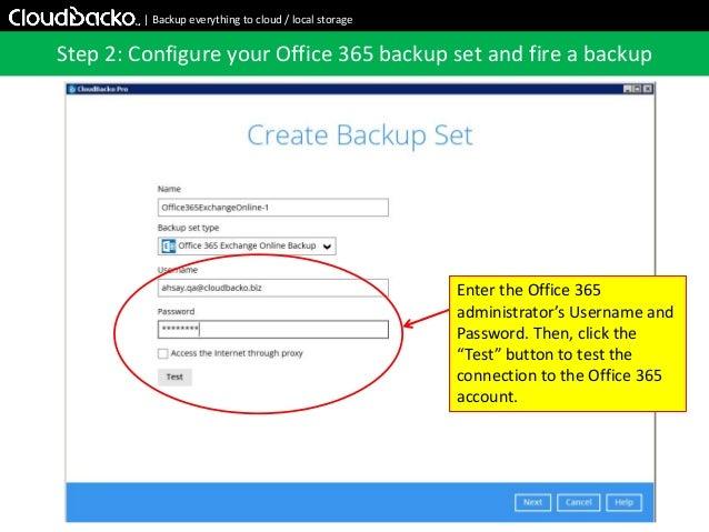 CloudBacko Pro: Backup Office 365 Exchange Online Emails