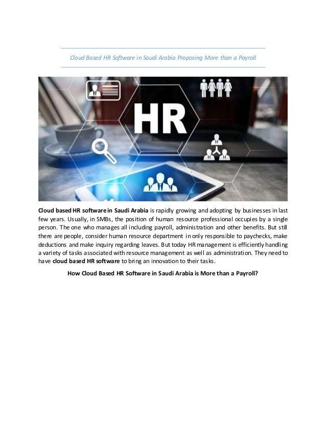 Cloud based hr software in saudi arabia proposing more than