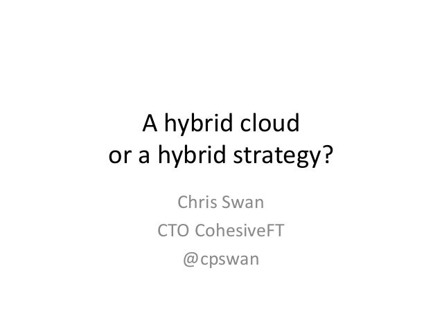 A hybrid cloud or a hybrid strategy? Chris Swan CTO CohesiveFT @cpswan