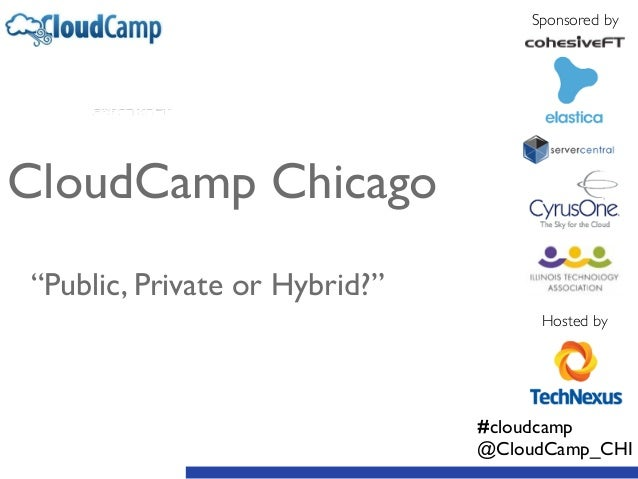 """Sponsored by Hosted by CloudCamp Chicago  ! ! """"Public, Private or Hybrid?"""" #cloudcamp  @CloudCamp_CHI"""