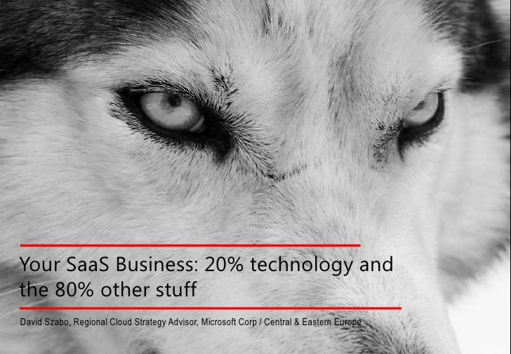 Your SaaS Business: 20% technology andthe 80% other stuffDavid Szabo, Regional Cloud Strategy Advisor, Microsoft Corp / Ce...