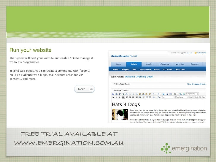 FREE TRIAL AVAILABLE AT WWW.EMERGINATION.COM.AU                            emergination