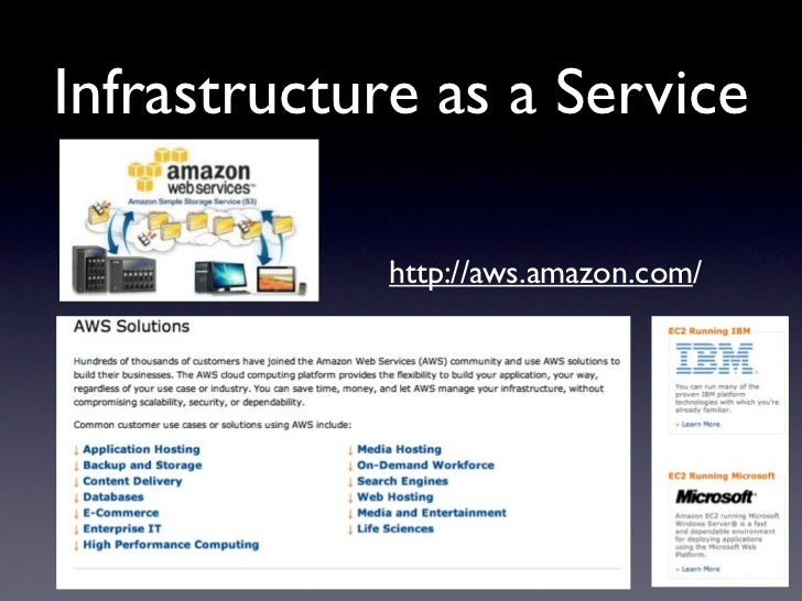 Infrastructure as a Service             http://aws.amazon.com/