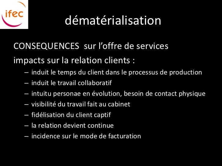 dématérialisationCONSEQUENCES sur l'offre de servicesimpacts sur la relation clients :  –   induit le temps du client dans...
