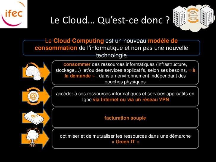 Le Cloud… Qu'est-ce donc ?   Le Cloud Computing est un nouveau modèle deconsommation de l'informatique et non pas une nouv...