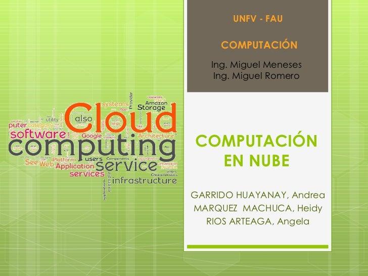COMPUTACIÓN EN NUBE GARRIDO HUAYANAY, Andrea MARQUEZ  MACHUCA, Heidy RIOS ARTEAGA, Angela UNFV - FAU COMPUTACIÓN Ing. Migu...