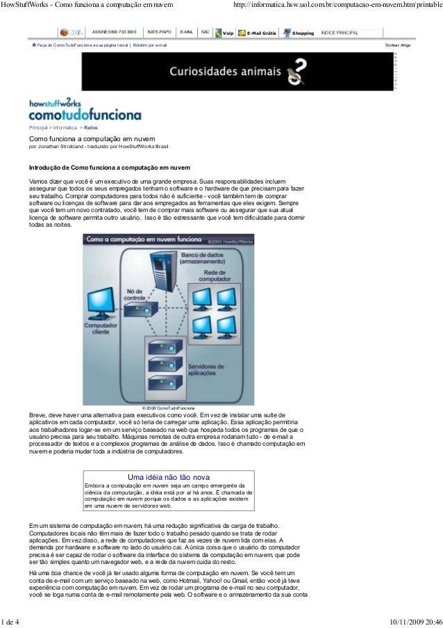 HowStuffWorks - Como funciona a computação em nuvem                                                     http://informatica...