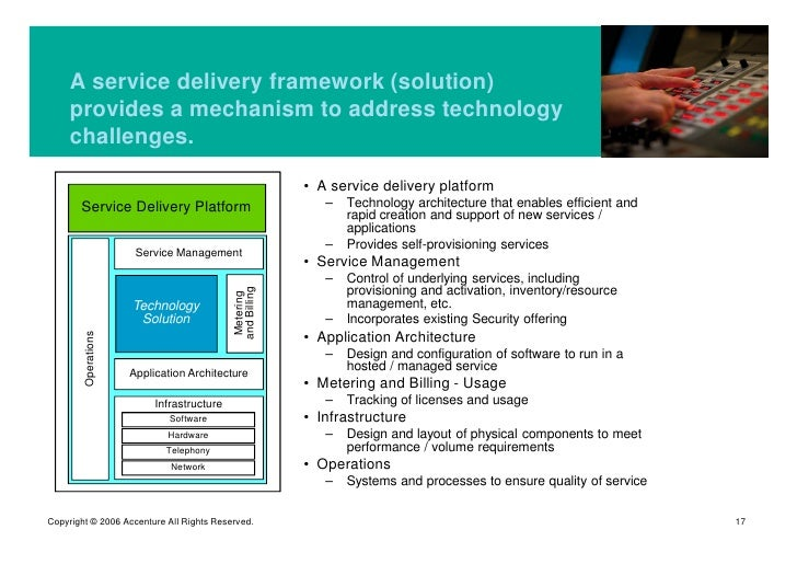 A service delivery framework (solution)      provides a mechanism to address technology      challenges.                  ...