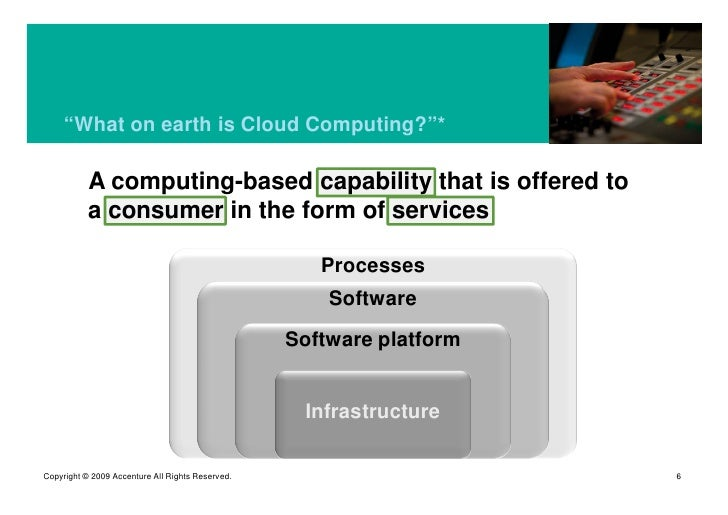 """""""What on earth is Cloud Computing?""""*             A computing-based capability that is offered to            a consumer in ..."""