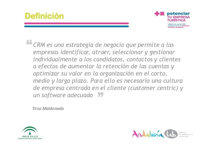 """Definición   """" CRM es una estrategiaatraer, seleccionar y gestionar   empresas identificar,                         de neg..."""