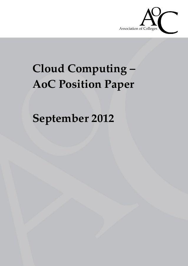 Cloud Computing –AoC Position PaperSeptember 2012