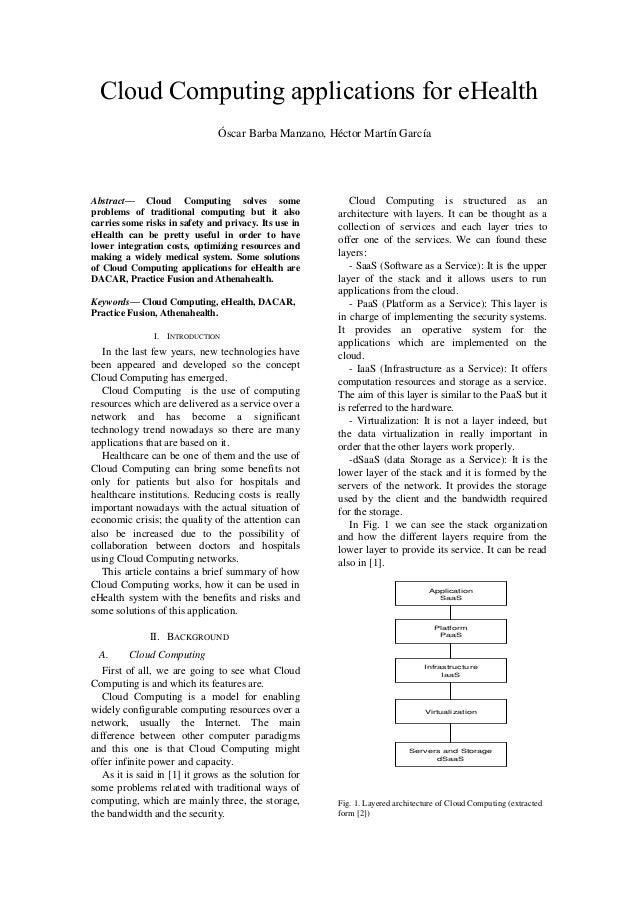 Cloud Computing applications for eHealth                               Óscar Barba Manzano, Héctor Martín GarcíaAbstract— ...
