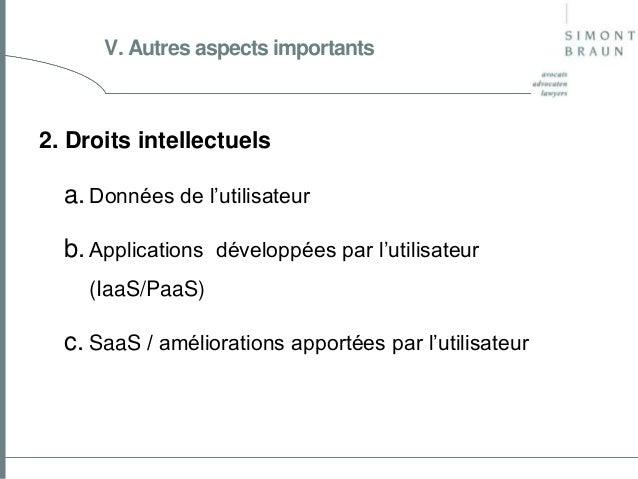 V. Autres aspects importants  2. Droits intellectuels  a. Données de l'utilisateur b. Applications développées par l'utili...