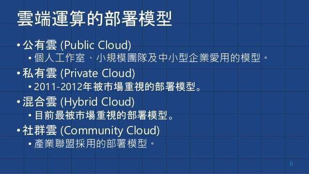 雲端運算的部署模型 •公有雲 (Public Cloud) • 個人工作室、小規模團隊及中小型企業愛用的模型。 •私有雲 (Private Cloud) • 2011-2012年被市場重視的部署模型。 •混合雲 (Hybrid Cloud) •...