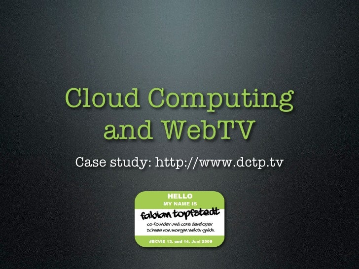 Cloud Computing and WebTV (English)