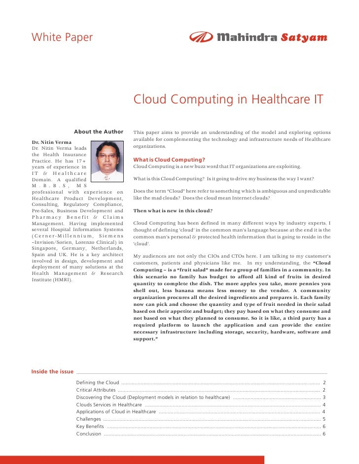White Paper                                                            Cloud Computing in Healthcare IT                   ...