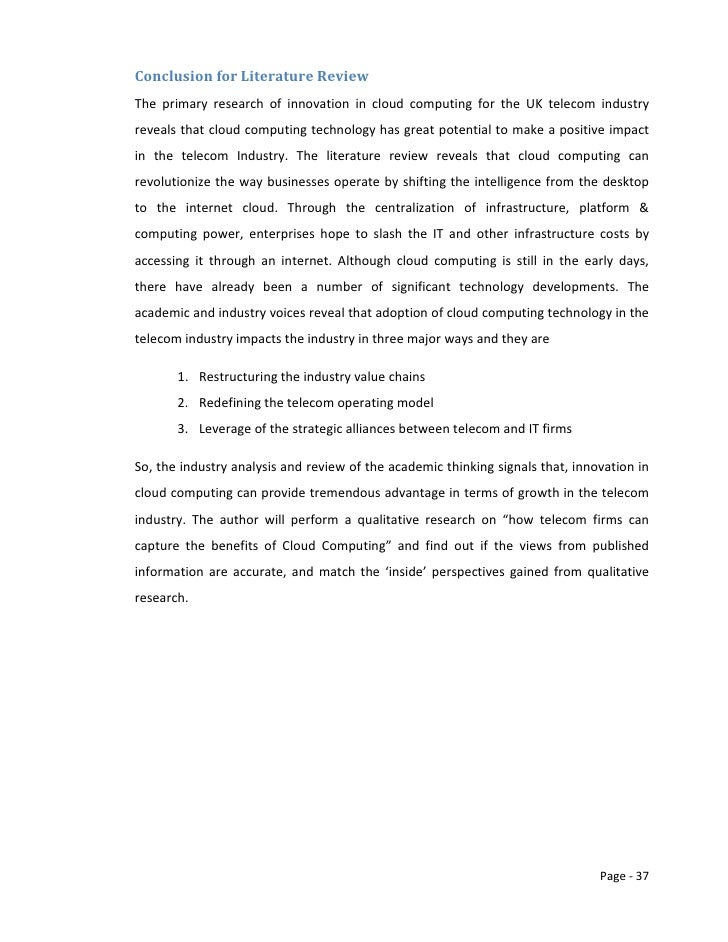 literature review on telecom industry