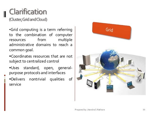 Clarification (Cluster,Grid andCloud) •Grid computing is a term referring  to the combination of computer resources from m...