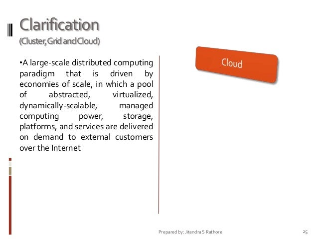 Clarification (Cluster,Grid andCloud) •A large-scale distributed computing  paradigm that is driven by economies of scale,...