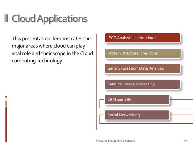 Cloud Applications This presentation demonstrates the major areas where cloud can play vital role and their scope in the C...