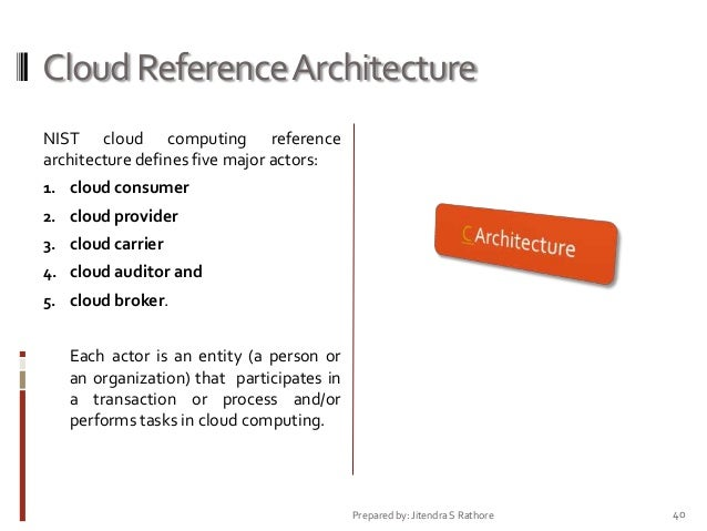 Cloud Reference Architecture NIST cloud computing reference architecture defines five major actors: 1. cloud consumer 2. c...