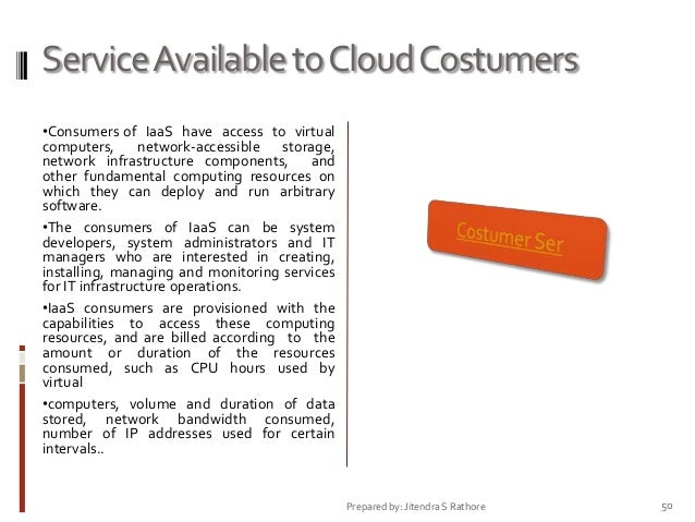 Service Available to Cloud Costumers •Consumers of IaaS have access to virtual computers, network-accessible storage, netw...