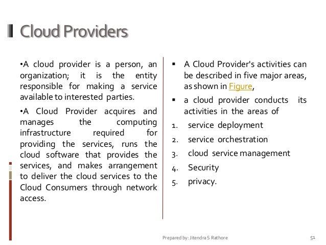 Cloud Providers •A cloud provider is a person, an   A Cloud Provider's activities can  organization; it is the entity res...