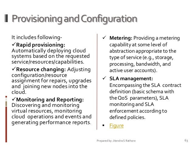 Provisioning and Configuration It includes followingRapid provisioning: Automatically deploying cloud systems based on th...