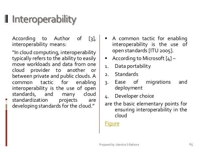 """Interoperability According to Author of [3], interoperability means: """"In cloud computing, interoperability typically refer..."""