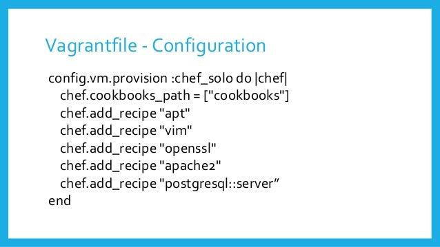 """Vagrantfile - Configuration config.vm.provision :chef_solo do  chef  chef.cookbooks_path = [""""cookbooks""""] chef.add_recipe """"..."""
